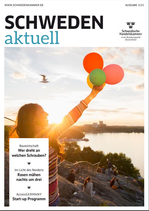 Magazincover Schweden aktuell Mädchen mit Luftballons am See