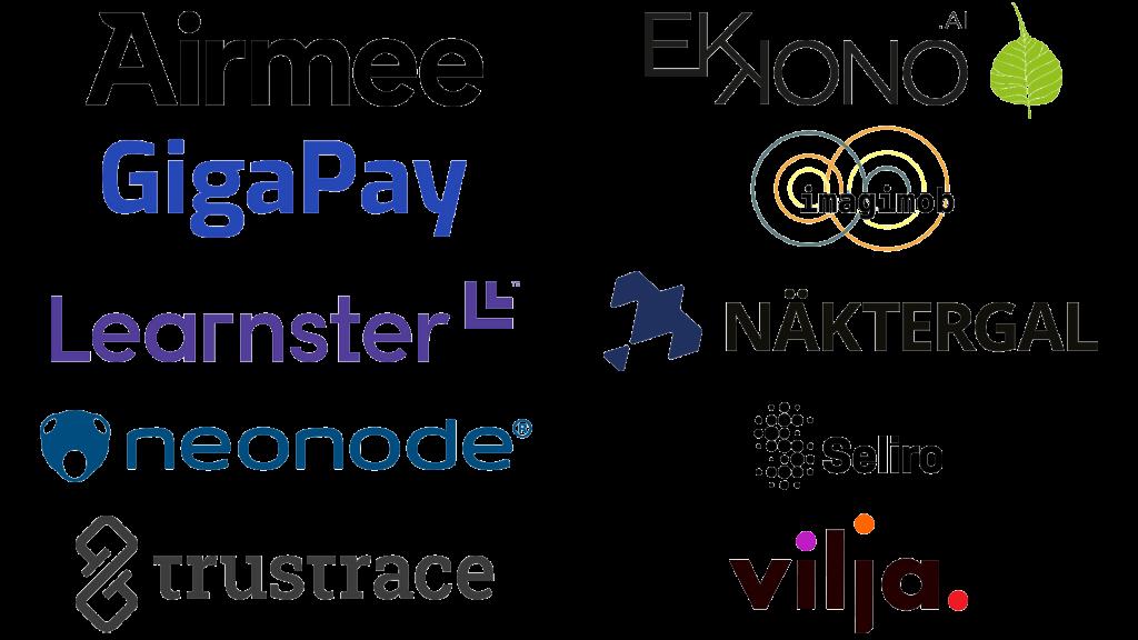 Logos Airmee, Ekkono, Gigapay, Imagimob, Learnster, Näktergal, neonader, Seliro, trustrace, Vilja