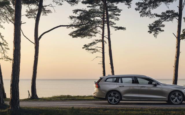 Volvo V60 Familienauto des Jahres 2021 vor Abendhimmel